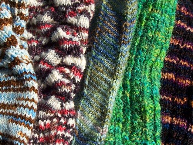 five socks (closeup)