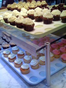 Closeup of the yummy cupcakes.