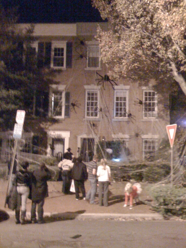 The spider house on Halloween night.