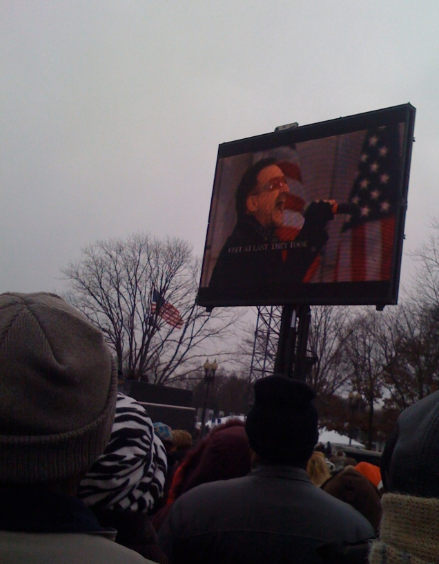 """After a tribute to Martin Luther King, Jr., U2 performed """"Pride (in the Name of Love)"""" -- their song about MLK."""
