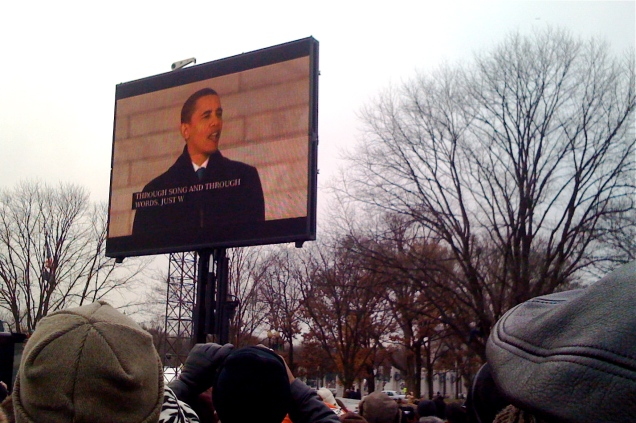President-Elect Obama addressing the crowd.