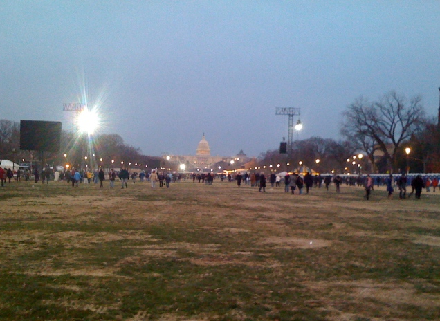 Walking up the Mall on the way home, after the crowd had cleared a bit.