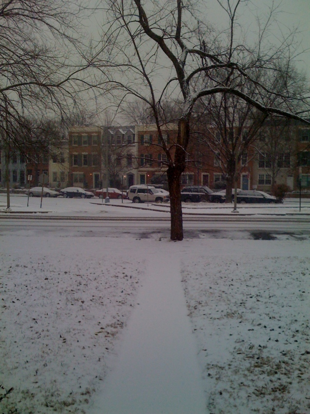 The snow had started by the time I left for work.