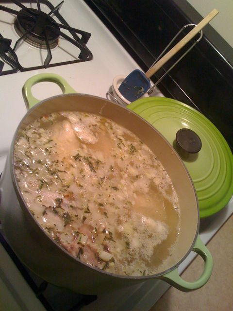 Chicken soup, cooking away in my beautiful new Le Creuset pot.
