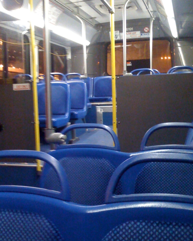 I took a different bus (the L2) home tonight after my tutoring, and unlike my normal route (the 90s), which is always chock-full of people, this bus went from sparsely filled to empty pretty fast.