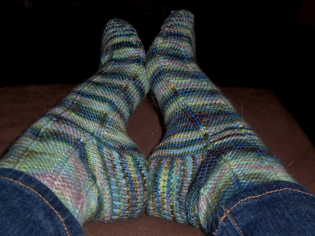 March 1: Being sick all weekend did have one benefit -- I finally finished the Jaywalker socks.