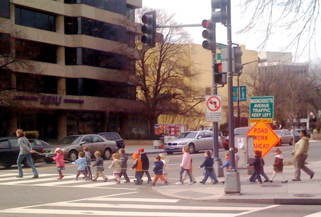 February 27, part 2: ... a group of pre-schoolers being walked past my office carrying a rope to keep them together.