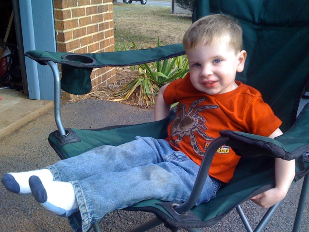 March 7: My littlest nephew, basking in the oddly warm March weather.