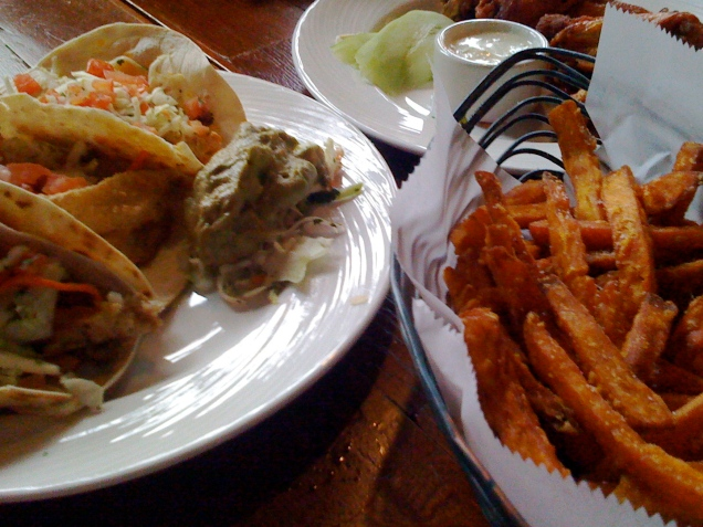 My favorite dinner at the Argonaut -- fish tacos and sweet potato fries.