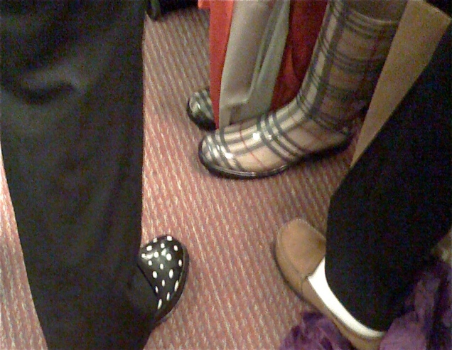 April 20: All of the cute wellies on the Metro on Monday finally convinced me to get a pair of my own. (These are not the best ones I saw, but are the only ones that were still for long enough for me to photograph.)
