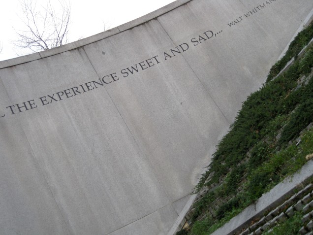 April 8: The Q Street escalator into the Dupont Circle metro station has a quote from Walt Whitman around the entrance.