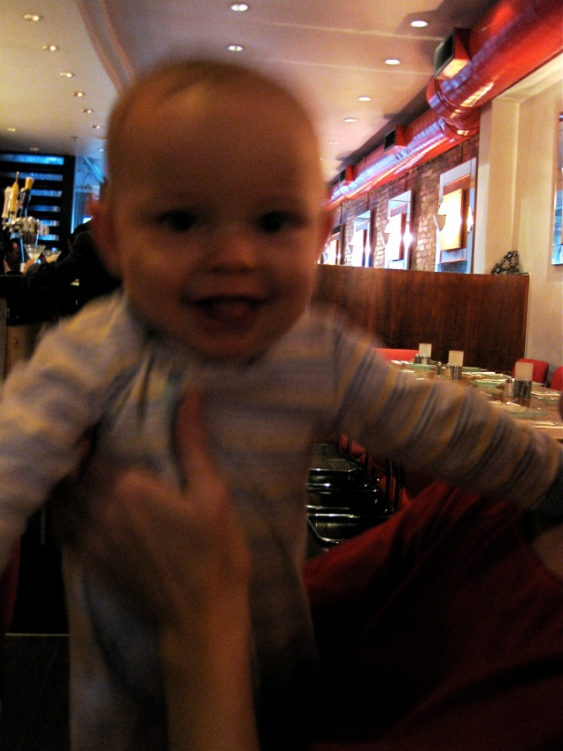 April 10: Joanne's son Wyatt was the youngest (and most adorable) guest at my birthday happy hour.