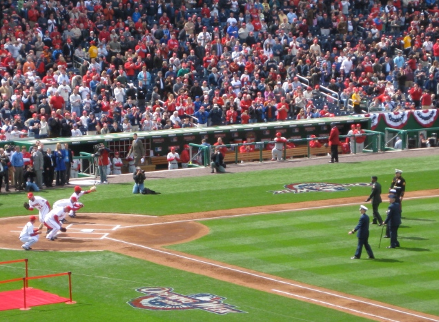 April 13: The Nationals home opener, with members of the armed forces throwing out the first pitch. Or, more accurately, pitches.