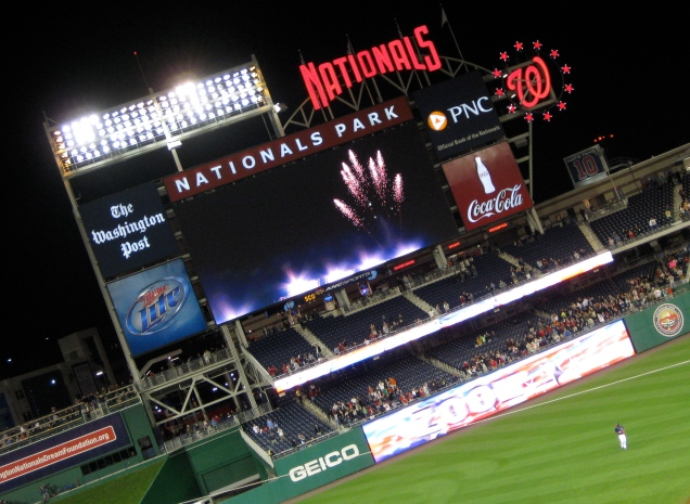 Bonus shot for April 16: Fireworks on the jumbotron as the Nats finally win a game!