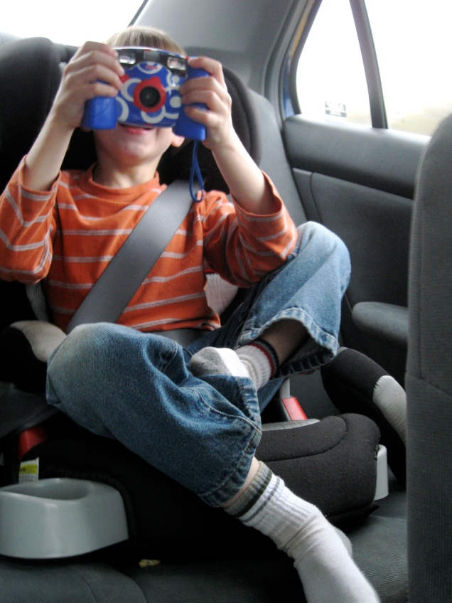 April 30: On the ride up to my mom's, my older nephew revealed that he's into photography, too.