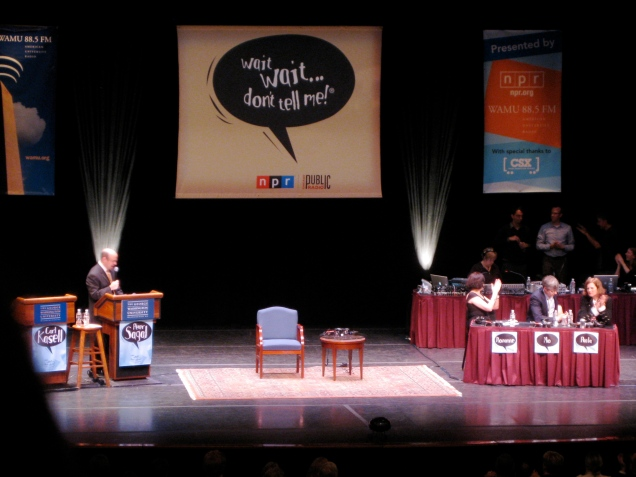 "May 14: On Thursday night, I went to see a taping of the NPR show ""Wait, Wait - Don't Tell Me"" at  George Washington University. It was a fun -- and funny -- evening."