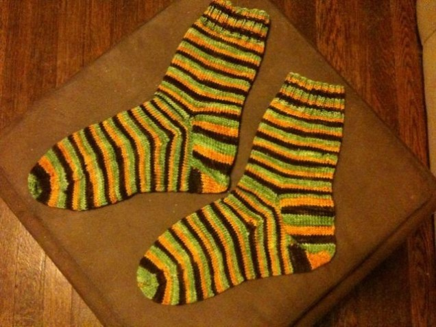 My waiting-in-airports socks (Egypt trip edition) are done.