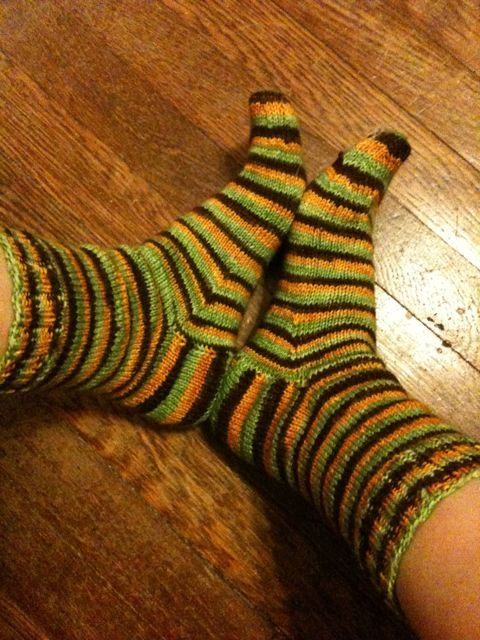 Happy feet in new stripey socks.