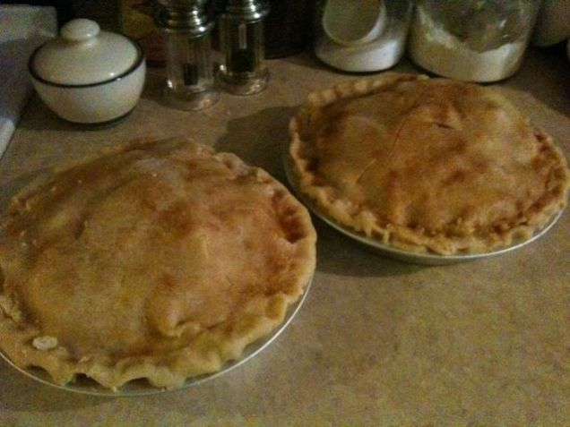 Two apple pies, one for now and one for the freezer.
