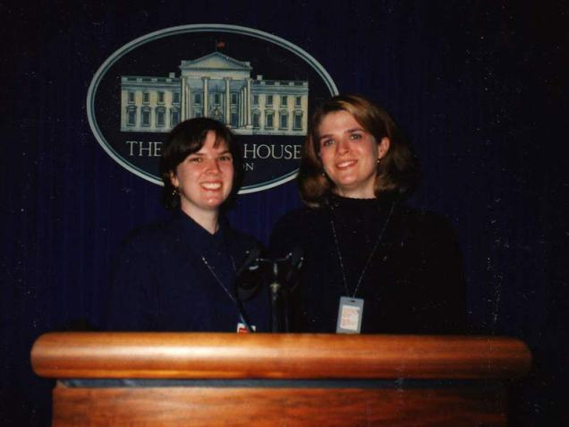 Eileen (left) and me in the White House press briefing room in 1998.
