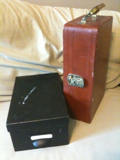 Phase two: photo shoebox, booze suitcase.