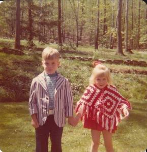 Brian and I in Grandma & Grandpa's back yard the day Eileen was born.
