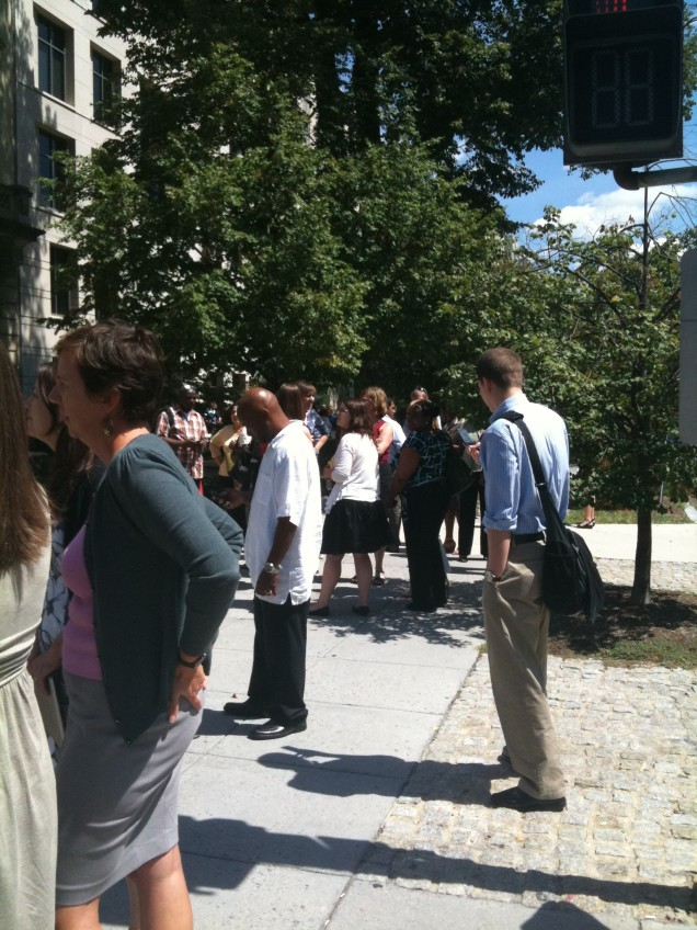 Some of my colleagues waiting outside the building during the evacuation.