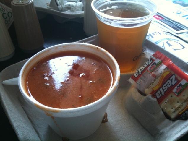 Manhattan clam chowder and Sam Adams summer ale at Saratoga.
