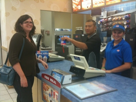 Getting my first Blizzard ever at the Dairy Queen,