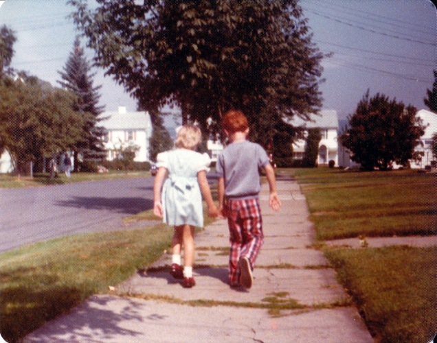 Walking to kindergarten, 1976.