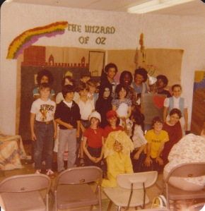 Fourth grade class play. I was Glinda the Good Witch. (I'm kinda hard to see but am just to the left of the Wicked Witch.)