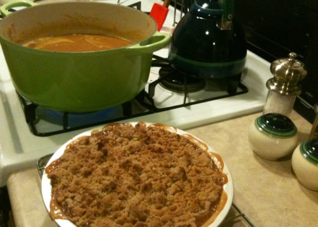 Indian spice squash soup and applesauce pie.