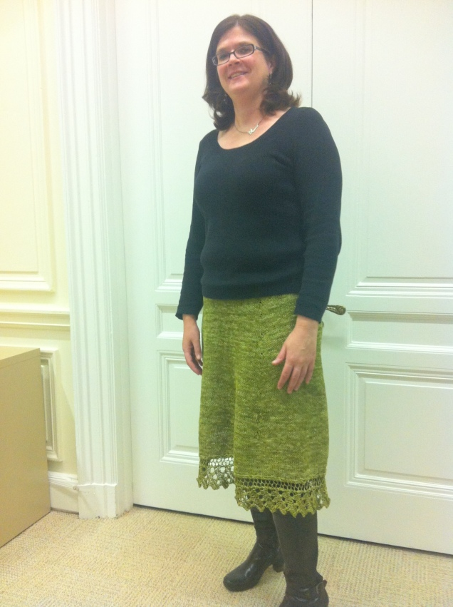Even though I am not jumping up and down in this photo, I am very happy the skirt is done.