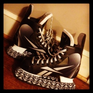 My skates, with their badass skull-and-crossbones blade covers.