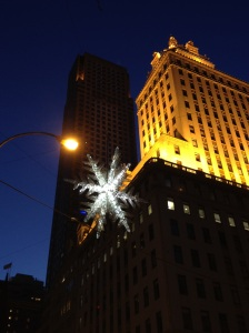 The 5th Avenue snowflake after dark.