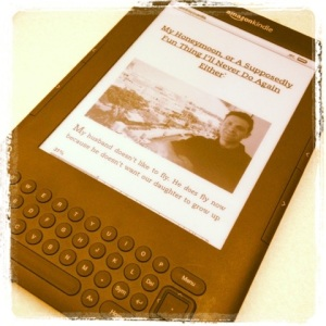 """""""Bossypants"""" on my Kindle"""