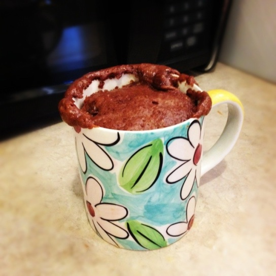 My first-ever (but certainly not last) microwave mug cake.