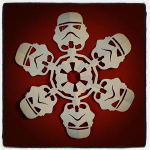 A Star Wars Stormtrooper snowflake, made by my SIL Jen.