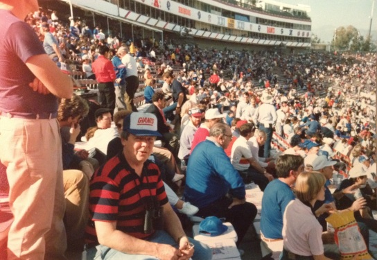 Bud at Super Bowl XXI, rocking his Giants trucker hat.