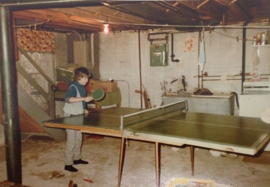 Ping pong in the basement, c. 1983.