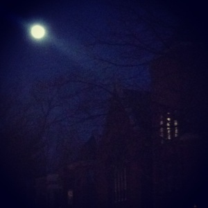 There was a huge, full moon rising tonight as I was coming home from work.