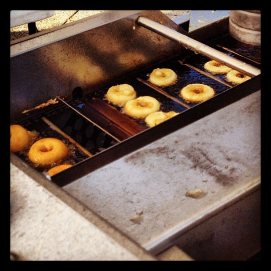 The insanely delicious fresh mini-donuts at Eastern Market, cooking away...
