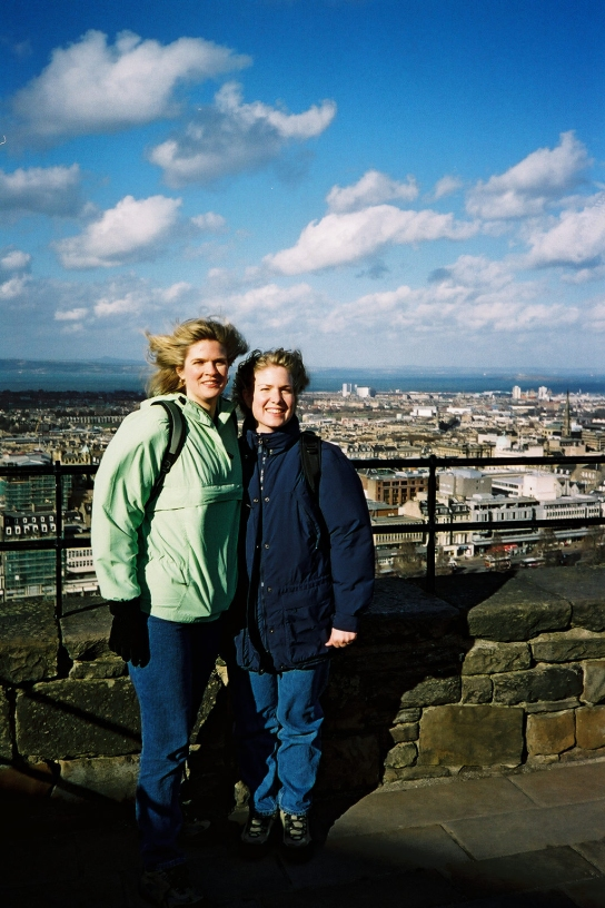 Windblown at Edinburgh Castle, March 2002