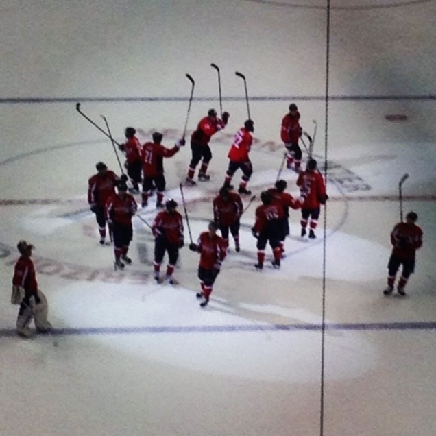 The Caps salute the fans after clinching a playoff spot.