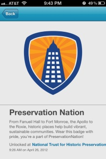 The Preservation Nation Foursquare badge.