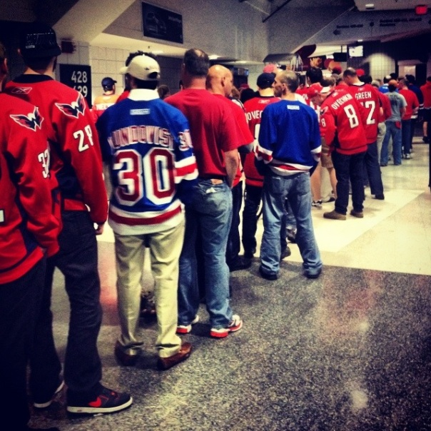 The men's room line before OT2.