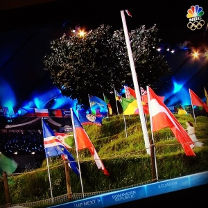 I like the visual of the nations' flags on the mini Glastonbury Tor.