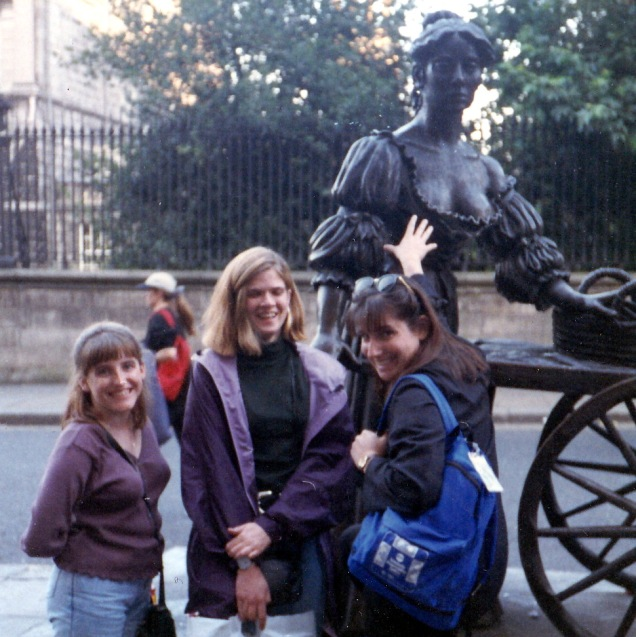Shannon, me, and Deb, paying our... uh, respects... to Molly Malone in Dublin, 1996.