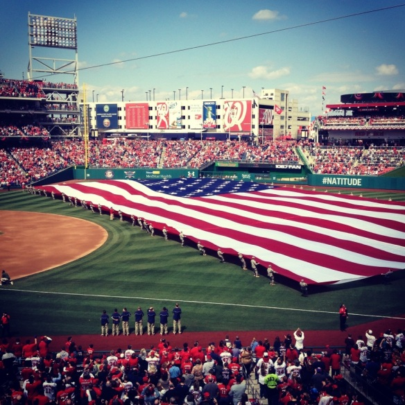 After giving out all of the 2012 awards (and believe me, there were MANY), an outfield-filling flag was brought out for the National Anthem.
