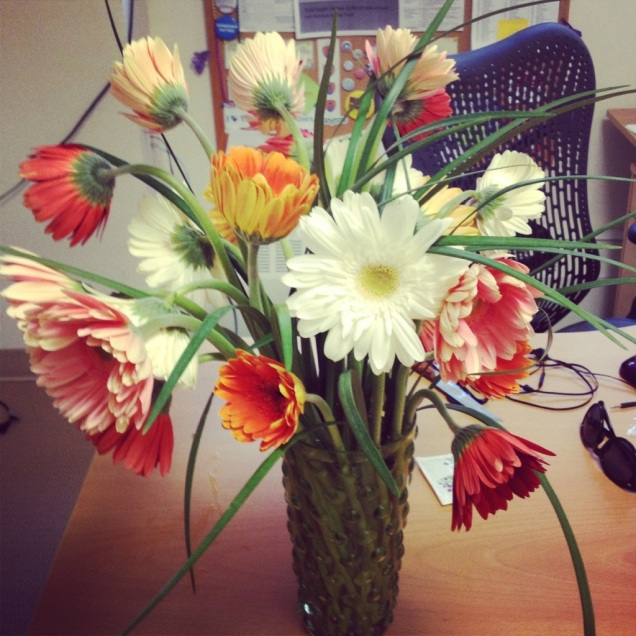 The beautiful gerber daisies that were waiting for me at the office this morning.